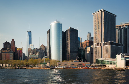 staten: NEW YORK, USA - May 04, 2015: Staten Island Ferry Whitehall Terminal in Lower Manhattan used by Staten Island Ferry, which connects two island boroughs of Manhattan and Staten Island in NYC