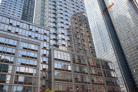 boroughs: NEW YORK, USA - May 05, 2015: Manhattan modern architecture. Manhattan is the most densely populated of the five boroughs of New York City