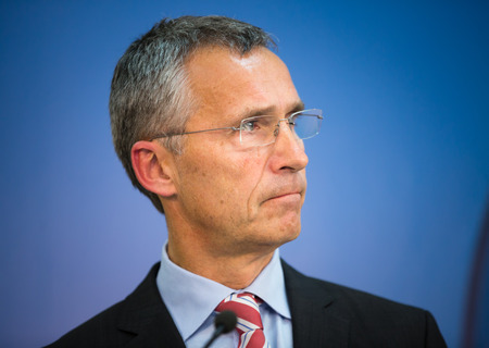 briefing: LVIV, UKRAINE - Sep 21, 2015: NATO Secretary General Jens Stoltenberg during a joint briefing with President of Ukraine Petro Poroshenko on the opening of NATO-Ukraine exercise on emergency situations