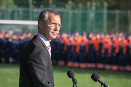 nato: LVIV, UKRAINE - Sep 21, 2015: NATO Secretary General Jens Stoltenberg on the opening of NATO-Ukraine exercise on emergency situations