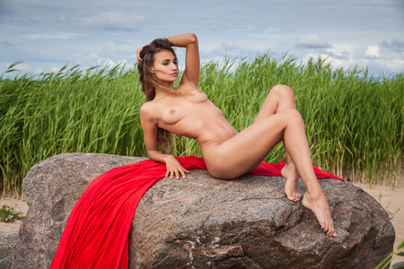 nude nature: Beautiful young nude woman on nature background Stock Photo