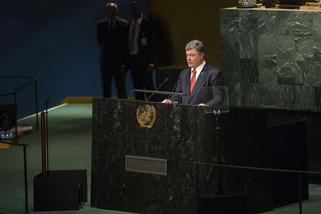 un: NEW YORK, USA - Sep 27, 2015: President of Ukraine Poroshenko Petro delivers his speech at the UN Sustainable Development Summit in New York