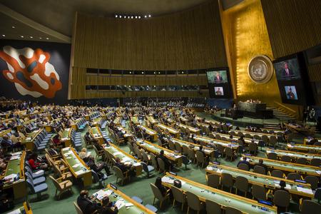 NEW YORK, USA - 27 september 2015: president van Oekraïne Petro Poroshenko levert zijn toespraak op de duurzame ontwikkeling VN-top in New York