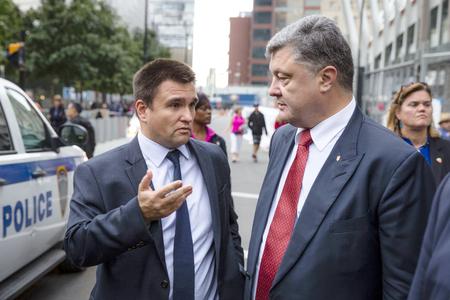 honored: NEW YORK, USA - Sep 27, 2015: President of Ukraine Petro Poroshenko and Minister of Foreign Affairs of Ukraine Pavlo Klimkin in New York (USA) Editorial