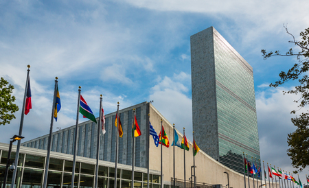NEW YORK, USA - Sep 27, 2015: 70th session of UN General Assembly. United Nations Building in New York is the headquarters of the United Nations organization. Stok Fotoğraf - 45701742