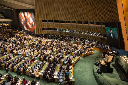 NEW YORK, USA - 28 september 2015: President van de Volksrepubliek China Xi Jinping spreekt bij de opening van de 70e zitting van de Algemene Vergadering van de Verenigde Naties Organisatie in New York Redactioneel