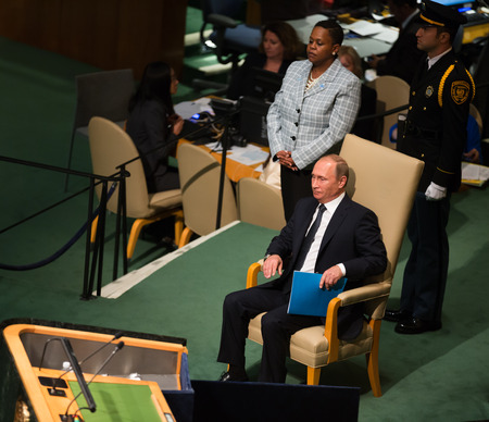 un: NEW YORK, USA - Sep 28, 2015: Russian President Vladimir Putin prepares to speak at the opening of the 70th session of the UN General Assembly in New York Editorial