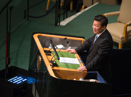 NEW YORK, USA - Sep 28, 2015: President of the People's Republic of China Xi Jinping  speaks at the opening of the 70th session of the General Assembly of the United Nations Organization in New York Редакционное