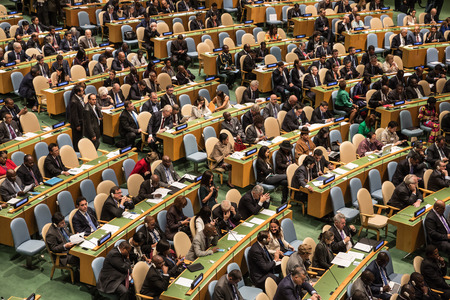 NEW YORK, USA - Sep 28, 2015: Opening of the 70th session of the General Assembly of the United Nations Organization in New York Editoriali
