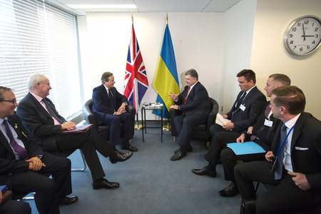 foreign nation: NEW YORK, USA - Sep 27, 2015: President of Ukraine Petro Poroshenko and British Prime Minister David Cameron during a meeting in the framework of 70th session of the UN General Assembly in New York