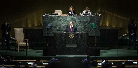 appeals: NEW YORK, USA - Sep 29, 2015: Speech of the President of Ukraine Petro Poroshenko at the general debate of the 70th session of the General Assembly of the United Nations in New York