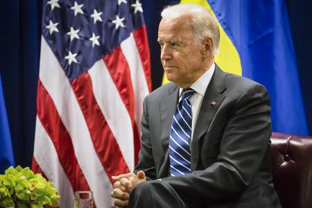 NEW YORK, USA - Sep 29, 2015: US Vice President Joe Biden during a meeting with President of Ukraine Petro Poroshenko in New York Banco de Imagens - 45702343