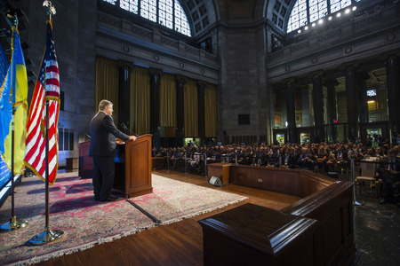 delivers: NEW YORK, USA - Sep 30, 2015: President of Ukraine Petro Poroshenko, delivers a report on events in Ukraine at the World Leaders Forum at Columbia University in New York City
