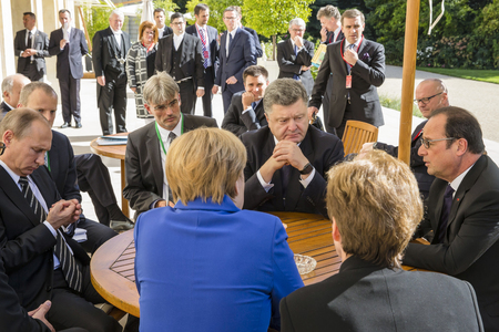 PARIS, FRANCE - Oct 02, 2015: German Chancellor Merkel, Russian President Vladimir Putin, President Ukraine Petro Poroshenko and French President Francois Hollande on the meeting in Normandy format