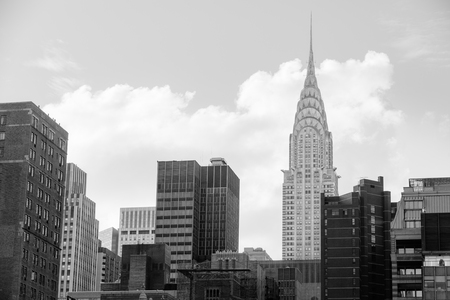 boroughs: NEW YORK, USA - Sep 27, 2015: Chrysler building and manhattan modern architecture. Manhattan is the most densely populated of the five boroughs of New York City Editorial