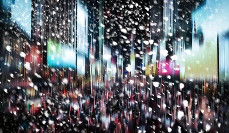 city by night: Winter in NYC. Manhattan at night. Illumination and night lights of New York City. Intentional motion blur