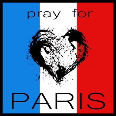 terrorist attack: Pray for Paris. The symbolic image of a broken heart in the colors of the French flag. Date 13 11 2015 - the day of terrorist attack in Paris.