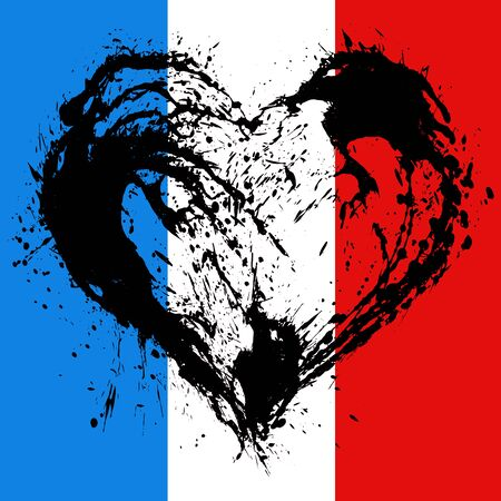 offence: The symbolic image of a broken heart in the colors of the French flag. Date 13 11 2015 - the day of terrorist attack in Paris.