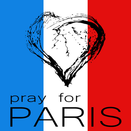 offence: Pray for Paris. The symbolic image of a broken heart in the colors of the French flag. Date 13 11 2015 - the day of terrorist attack in Paris.