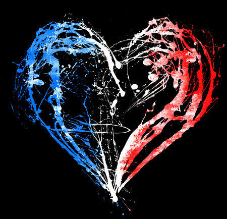 killed: The symbolic image of a broken heart in the colors of the French flag. Date 13 11 2015 - the day of terrorist attack in Paris.