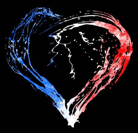 terrorist attack: The symbolic image of a broken heart in the colors of the French flag. Date 13 11 2015 - the day of terrorist attack in Paris.