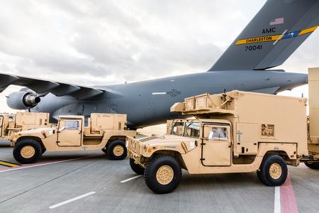 handover: LVIV REGION, UKRAINE - Nov 14, 2015: Military assistance to Ukraine. Handover ceremony of two counter battery radars wich was delivered from US to Ukraine