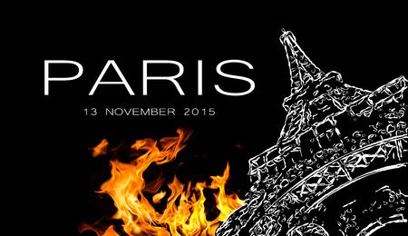 terrorist attack: Pray for Paris. Symbol of Paris Eiffel Tower in fire. Date 13 11 2015 - the day of terrorist attack in Paris.