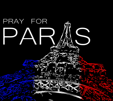 terrorist attack: Pray for Paris. Symbol of Paris Eiffel Tower painted in the colors of the French flag. Date 13 11 2015 - the day of terrorist attack in Paris.