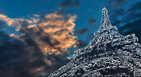 evening sky: From Paris with Love. Paris art background. Stylized image of the Eiffel Tower on a background of evening sky with clouds and copy-space Stock Photo