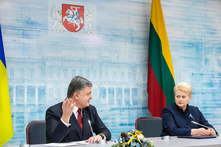 dalia: VILNIUS, LITHUANIA - Dec 02, 2015: President of Ukraine Petro Poroshenko and President of Lithuania Dalia Grybauskaite during a meeting in Vilnius Editorial