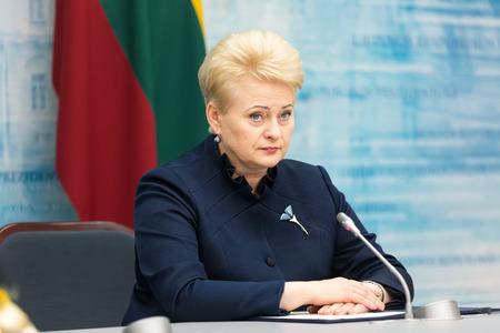 charisma: VILNIUS, LITHUANIA - Dec 02, 2015: President of Lithuania Dalia Grybauskaite during a meeting with President of Ukraine Petro Poroshenko in Vilnius