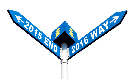 newcomer: Street post with 2015 end and 2016 way signs Stock Photo