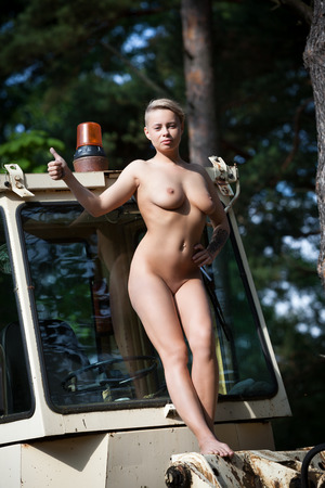 Nude women posing on tractors, horible woman naked masyerbating