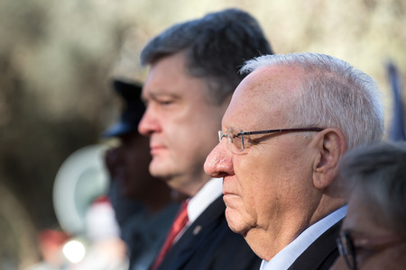 parliamentary: JERUSALEM, ISRAEL - Dec 22, 2015: Israeli President Reuven Rivlin during a meeting in the framework of the state visit of the president of Ukraine Petro Poroshenko
