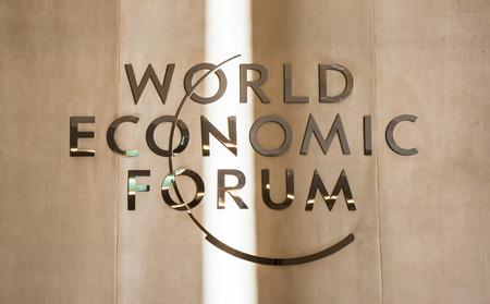 world: DAVOS, SWITZERLAND - Jan 21, 2016: Emblem of the World Economic Forum in Davos (Switzerland)