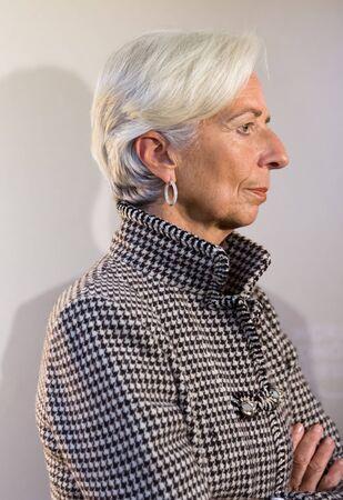 monetary: DAVOS, SWITZERLAND - Jan 21, 2016: Managing Director of the International Monetary Fund, Christine Lagarde at the World Economic Forum in Davos (Switzerland) Editorial