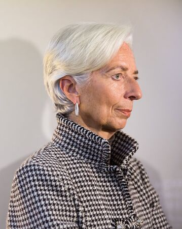 international crisis: DAVOS, SWITZERLAND - Jan 21, 2016: Managing Director of the International Monetary Fund, Christine Lagarde at the World Economic Forum in Davos (Switzerland) Editorial