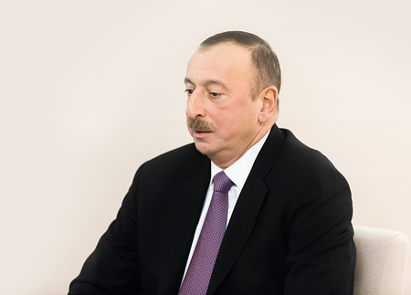 azerbaijani: DAVOS, SWITZERLAND - Jan 22, 2016: Azerbaijani President Ilham Aliyev at the World Economic Forum in Davos (Switzerland)