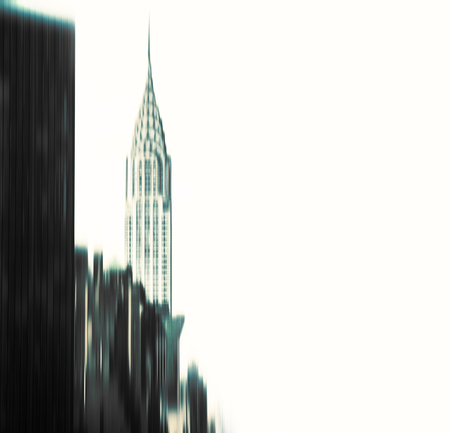 chrysler: Abstract blurred Chrysler building and manhattan modern architecture with copyspace