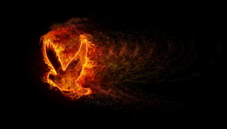 Silueta del ave con las llamas de fuego y explosión con una gran cantidad de chispas