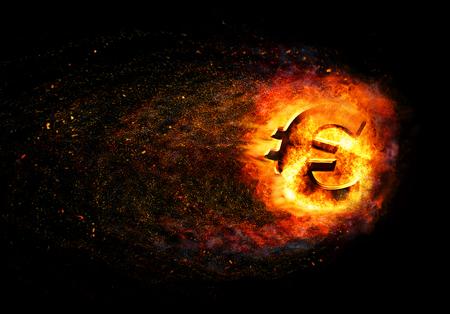 burning: Financial crisis.  Burning broken gold euro