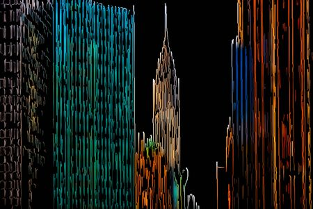new york skyline: Abstract Manhattan. New York City skyline painted by color lines on a black background Stock Photo