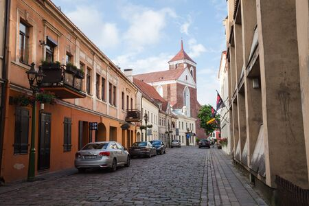 kaunas: KAUNAS, LITHUANIAN - Jul, 12, 2015:  Streets of Kaunas old town located to the east of confluence of Nemunas and Neris rivers. There are a lot of surviving Gothic, Renaissance and Baroque buildings