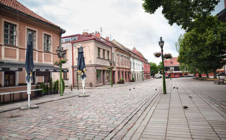 surviving: KAUNAS, LITHUANIAN - Jul, 12, 2015:  Early morning on the streets of Kaunas old town. There are a lot of surviving Gothic, Renaissance and Baroque buildings
