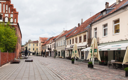 kaunas: KAUNAS, LITHUANIAN - Jul, 12, 2015:  Early morning on the streets of Kaunas old town. There are a lot of surviving Gothic, Renaissance and Baroque buildings