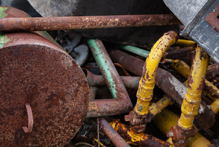 scrap iron: Old rusty scrap metal, close up view. Waste iron metals rusted. Shallow DOF