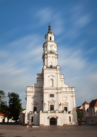 surviving: KAUNAS, LITHUANIAN - Jul, 12, 2015: View of City Hall in old town. There are a lot of surviving Gothic, Renaissance and Baroque buildings in Kaunas old town