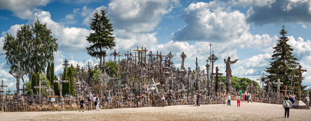 hill: SIAULIAI, LITHUANIA - JUL 12, 2015: Hill of Crosses is a unique monument of history and religious folk art and the most important Lithuanian Catholic pilgrimage site