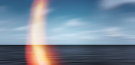 simulating: Abstract blurred sea landscape and cloudy sky background and red flare simulating film defect