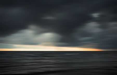 art contemporary: Abstract blurred sea landscape and cloudy sky background